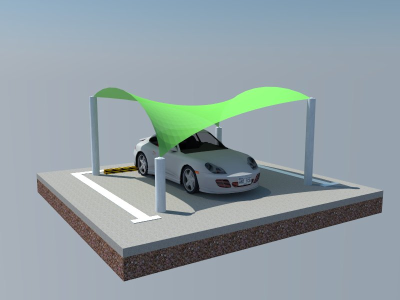 wave design car parking sheds in Sharjah