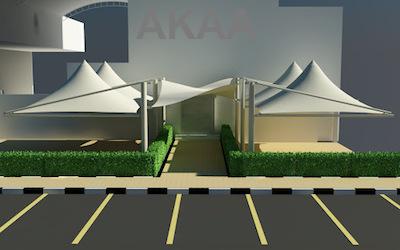 Cone Single Pole car parking shades in UAE