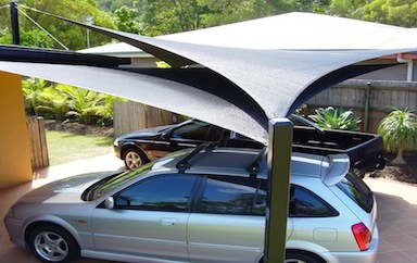 sail designed car parking shades in UAE