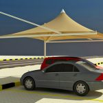 CONE SINGLE POLE CAR PARKING SHADE in UAE