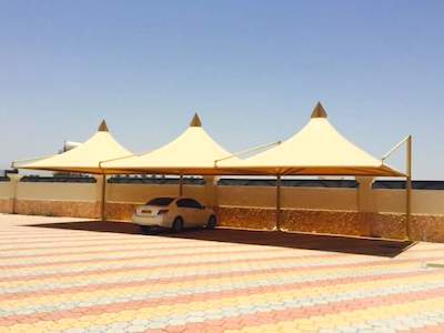 CONE SINGLE POLE CAR PARKING SHADE in UAE