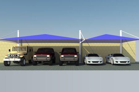 pyramid design car parking shades in UAE