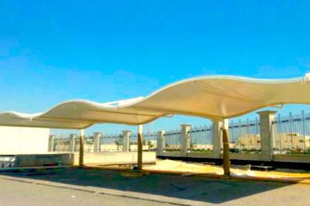 wave design car parking shade in uae