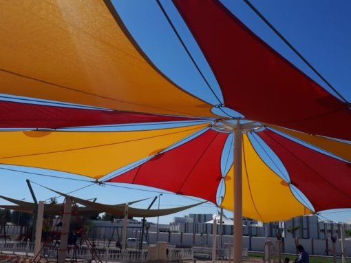 Sail shade installation for kids play area of the Garden in Al – Ain