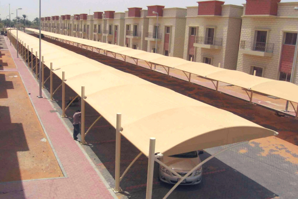 HDPE fabric car parking shades in UAE
