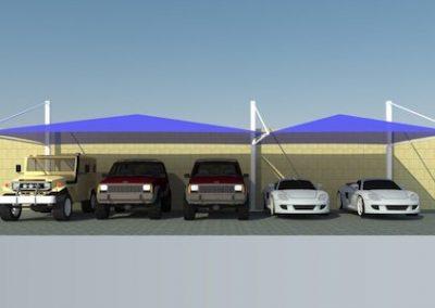 pyramid top support car parking shades