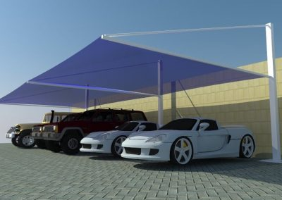 pyramid top support parking shade