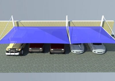 pyramid top support parking shades