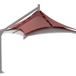 single pole double layer design car parking shade in dubai