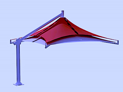 single pole double layer design car parking shade in UAE