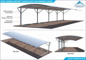 cantilever parking shades in UAE Dubai