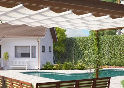 Swimming pool retractable roof pergola shade