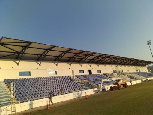 PTFE Fabric Shade Installation in Dubai at Al-Nasr Stadium