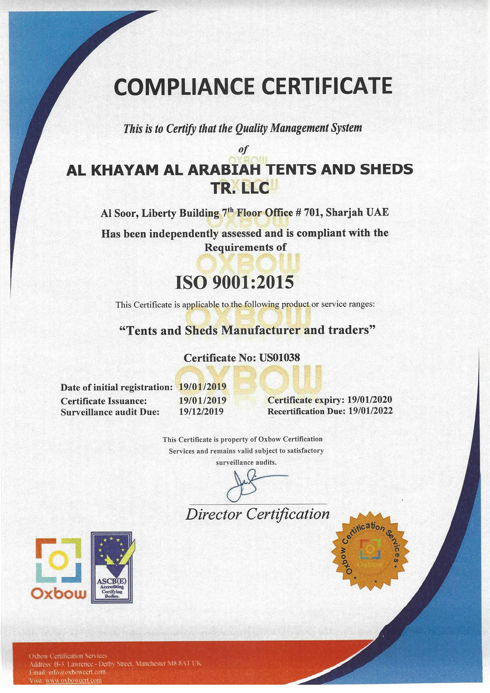 certified quality management company for tents and sheds manufacturer and trading