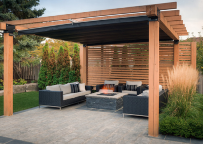louvered wooden pergola
